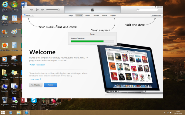 The new welcome screen in iTunes 11 provides a helpful insight into the new layout...
